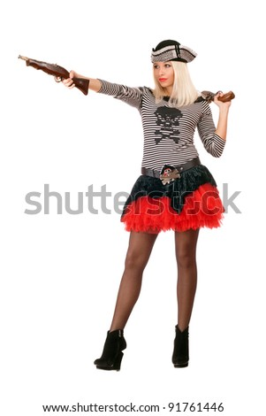Pretty young blonde with guns dressed as pirates - stock photo