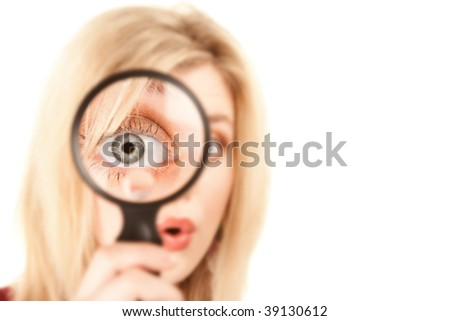 Pretty Young Blonde Woman Looking Through Magnifying Glass