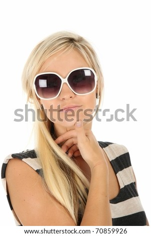 Pretty young blonde woman with large sunglasses - stock photo