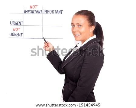 pretty young business woman drawing board priorities - stock photo
