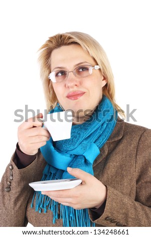 pretty young business woman drinking the coffee - stock photo
