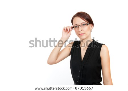 pretty young business woman holding her glasses isolated on white - stock photo