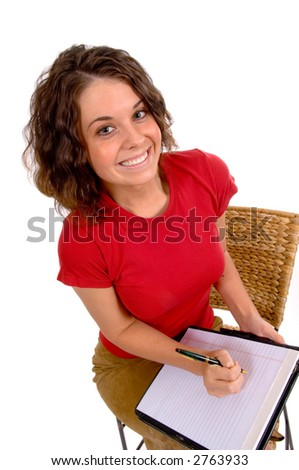 Pretty young business woman with tablet ready to take notes or dictation