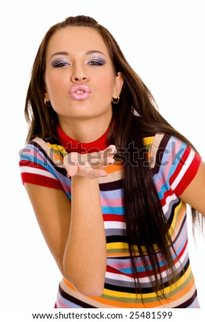 Pretty young caucasian girl blowing kiss - stock photo