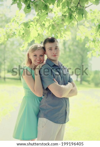 Pretty young couple in love - stock photo