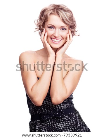 pretty young excited woman, isolated against white  background - stock photo