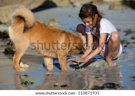 pretty young girl and her Elo puppy playing in the wet sand of the beach - stock photo