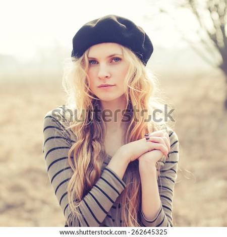 Pretty young girl close-up - stock photo