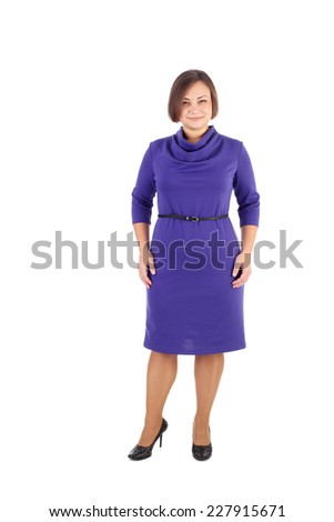 pretty young girl demonstrating a dress - stock photo