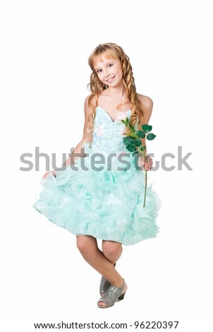 Pretty young girl greeting with flower isolated on white background - stock photo