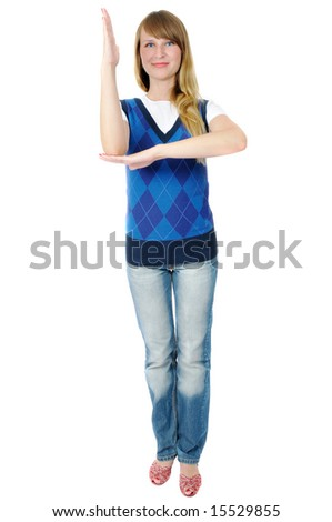 pretty young girl plays pupil, isolated on white - stock photo