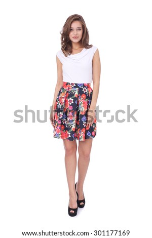 pretty young girl wearing beautiful flower printed skirt - stock photo