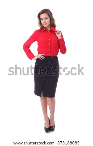 pretty young girl wearing black formal skirt and red blouse - stock photo