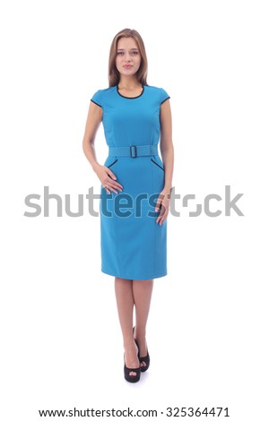 pretty young girl wearing blue dress  - stock photo