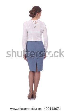 pretty young girl wearing grey formal skirt and white blouse - stock photo