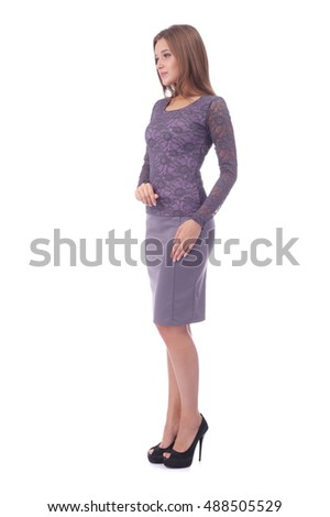 pretty young girl wearing lilac dress
