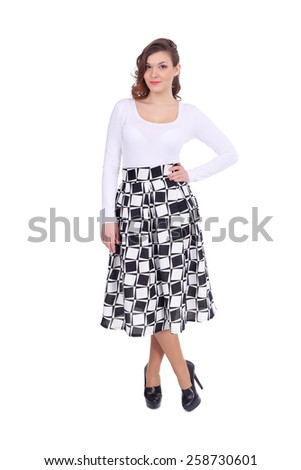 pretty young girl wearing midi skirt - stock photo