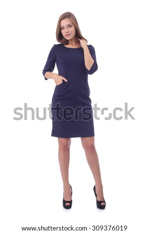 pretty young girl wearing office dress - stock photo