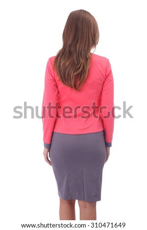 pretty young girl wearing office skirt and jacket