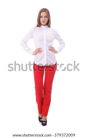 pretty young girl wearing white office blouse and red pants
