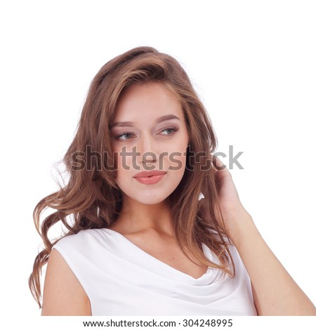 pretty young girl wearing white top - stock photo