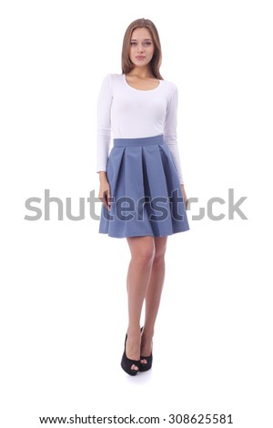 pretty young girl wearing white top and blue skirt