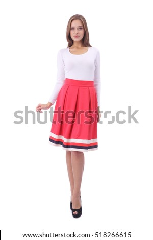 pretty young girl wearing white top and pink skirt