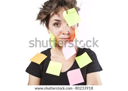 pretty young girl with post it notes