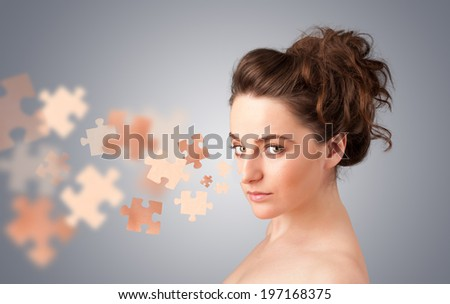 Pretty young girl with skin puzzle illustration on gradient background - stock photo