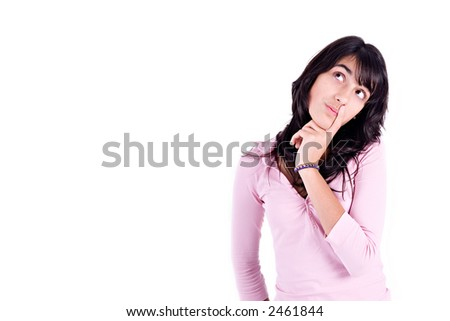 Pretty young girl wondering. Isolated on white with copy space.