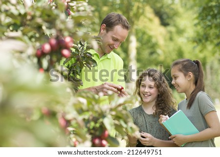 Pretty young girls having outdoor lesson  exploring nature in fruit orchard  - stock photo
