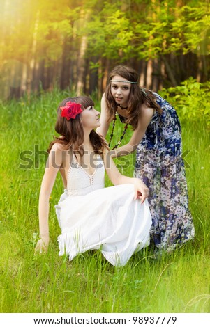 Pretty young girls in the forest