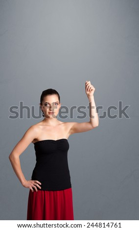 Pretty young lady gesturing with copy space - stock photo