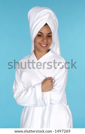 Pretty Young Latina with Hair in Towel - stock photo