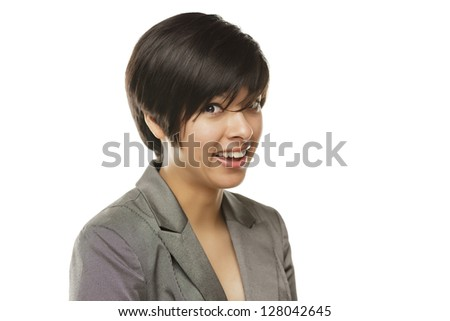 Pretty Young Mixed Race Young Adult Woman Portrait Isolated on a White Background. - stock photo