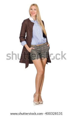 Pretty young model in brown jacket isolated on white