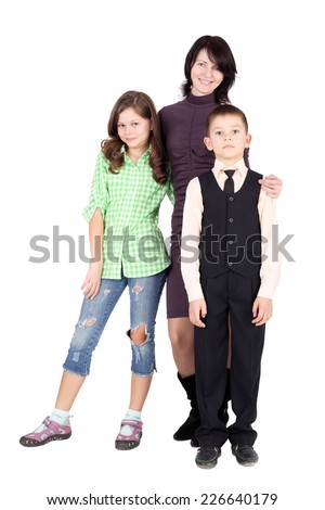 pretty young mother with her little children - stock photo