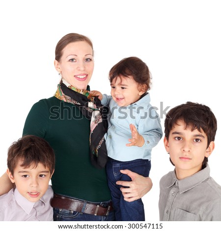 pretty young mother with her three sons