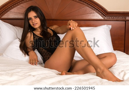 Pretty young Romanian woman in a black bodysuit - stock photo