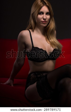 Pretty young slender woman in sexy underwear - stock photo