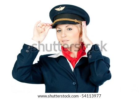 pretty young stewardess in a pilot's cap