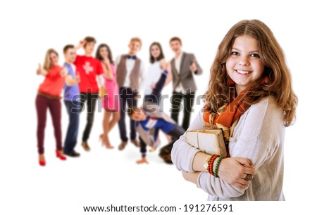 Pretty young student girl portrait with friends - stock photo