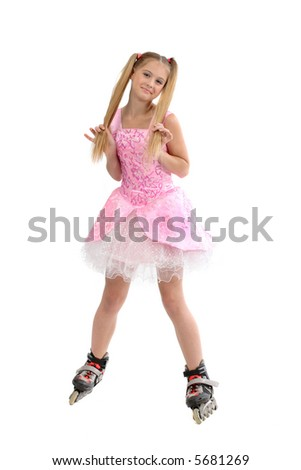 pretty young sweet girl  with roller skates
