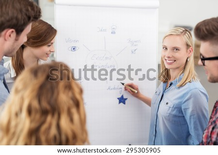Pretty Young Team Leader in a Meeting, Smiling at the Camera While Presenting her Business Diagram on White Poster to the Group. - stock photo