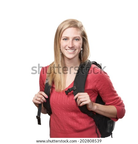 Pretty young woman college or high school student isolated on white background  - stock photo