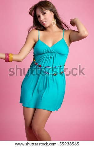 Pretty young woman dancing - stock photo