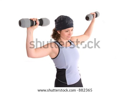 Pretty young woman doing a workout with weights