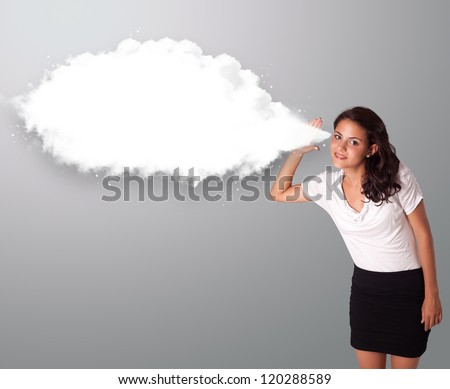 Pretty young woman gesturing with abstract cloud copy space - stock photo