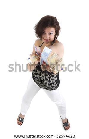 Pretty young woman hold the money. Studio shot - stock photo