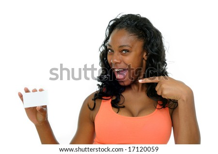 Pretty Young Woman Holding A Blank Business Card Ready For Your Message